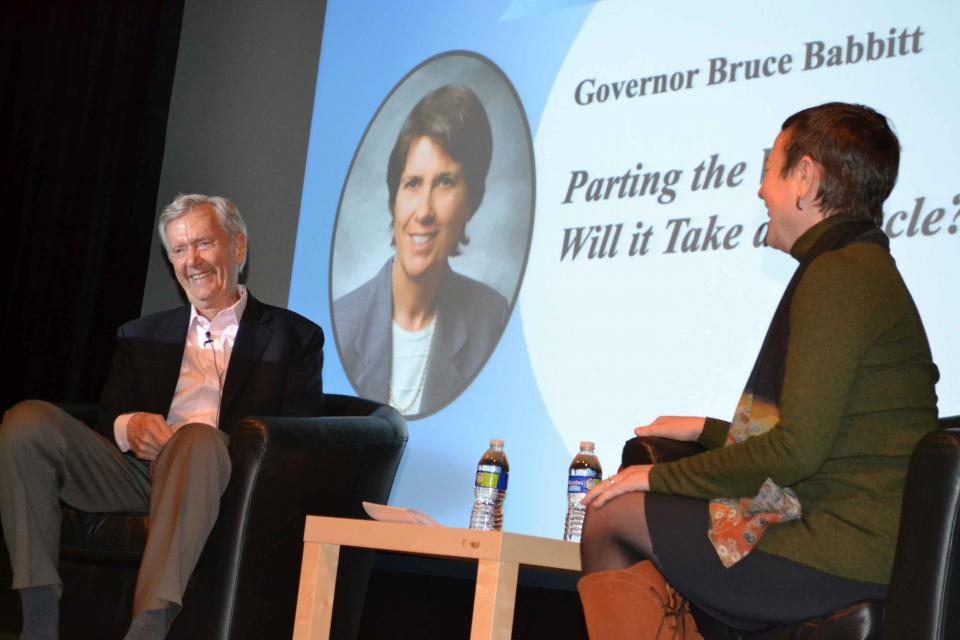Bruce Babbitt and Ellen Hanak with the Public Policy Institute of California share a laugh during the question and answer session at the April 3 Anne J. Schneider  Lecture.