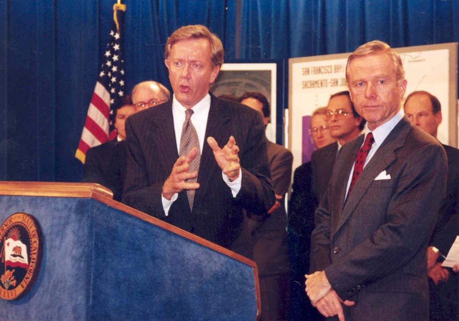 Babbitt and then-Gov. Pete Wilson at a 1994 news conference to announce the Bay-Delta Accord, hailed at the time as a cease-fire in California's contentious water wars.  The agreement never quite achieved its lofty goals for Delta water management.