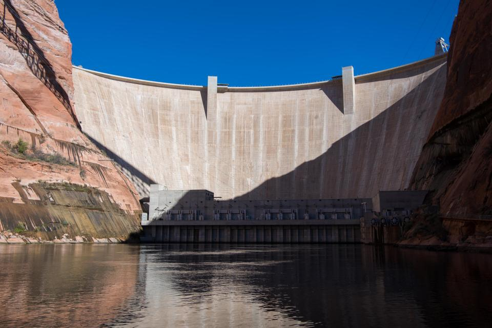Downstream view of Glen Canyon Dam, at the southern end of the Upper Colorado River Basin.