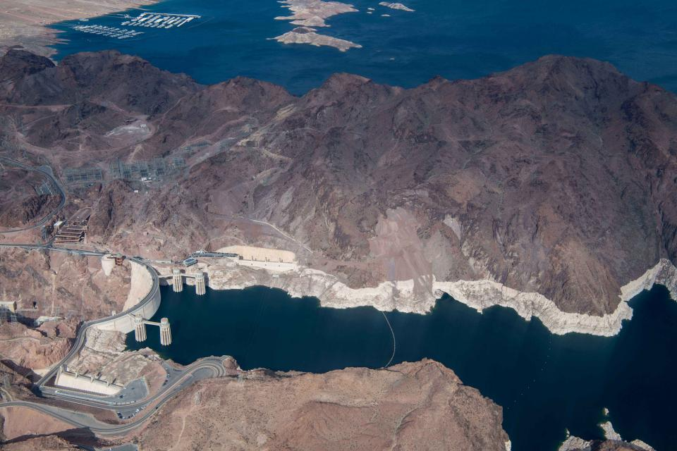 "A stark white ""bathtub ring"" around the edge of Lake Mead underscores the impact of drought on the nation's largest reservoir."