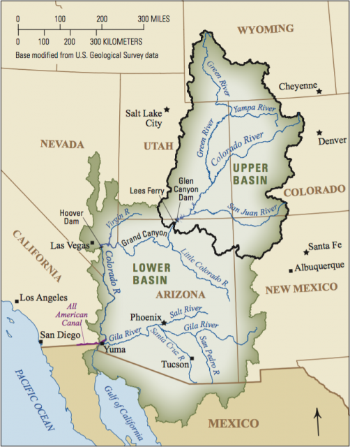 The Upper and Lower Basins of the Colorado River.