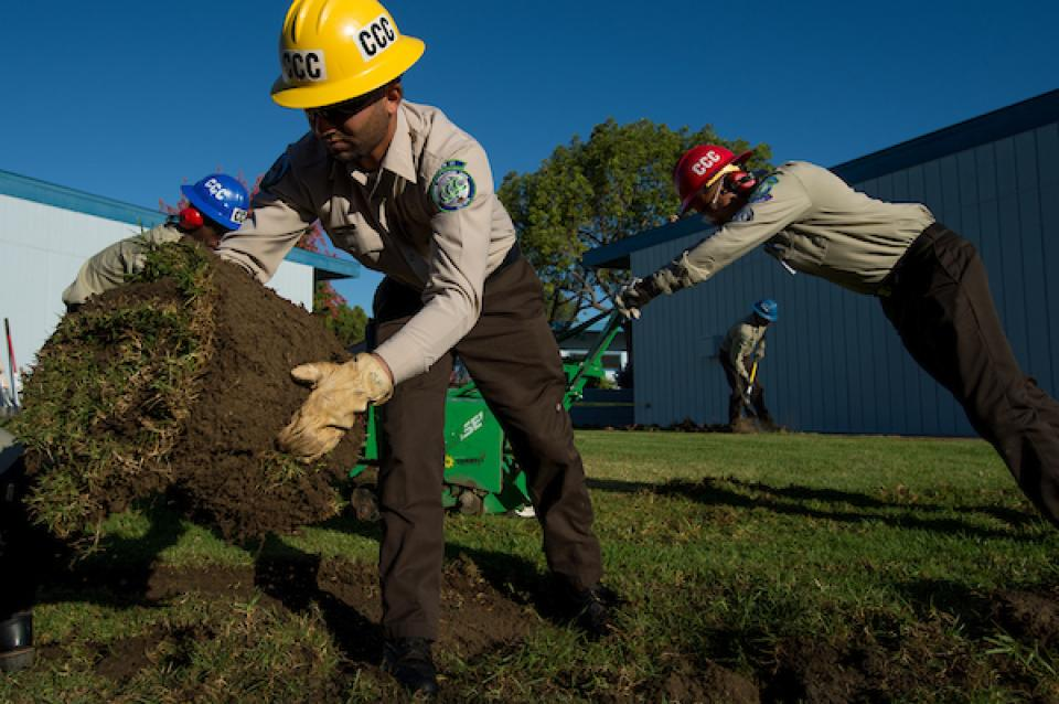 California Conservation Corps work on transforming lawn areas into drought tolerant landscaping at schools in Corona, Calif.